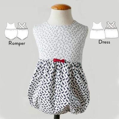 Patrón Ranita y vestido para Niña - Bebé mod. Laly 6 9 12 18 24 y 36 meses