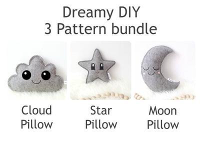 3 patrones de costura PDF: estrella almohada costura patrón, patrón de costura de almohada nube y Luna almohada patrón de costura