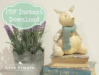 PDF Sewing Pattern Tutorial: Cute Mint Bunny Stuffed Plushie DIY | Patrón costura conejo