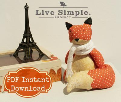PDF Sewing Pattern Tutorial: Lovely Dotty Fox Stuffed Plushie DIY   Patrón costura zorro