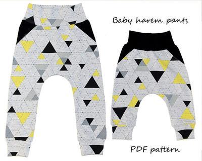 Baby fake pockets harem pants pattern PDF.