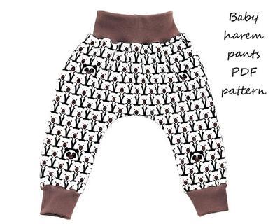 Baby harem pants sewing pattern PDF download, pattern and tutorial