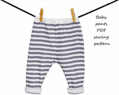 Baby pants pattern PDF download, baby sewing patterns and tutorials.