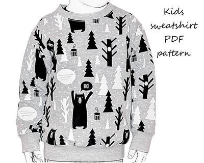 Kids sweatshirt sewing pattern PDF download