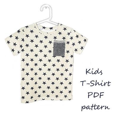 Kids t-shirt pattern pdf. Stars.