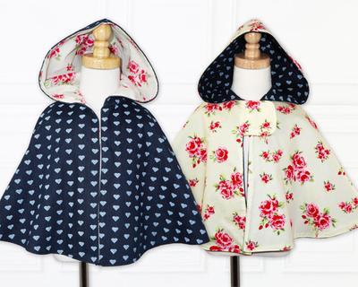 Childrens sewing pattern pdf, girls cape pattern.