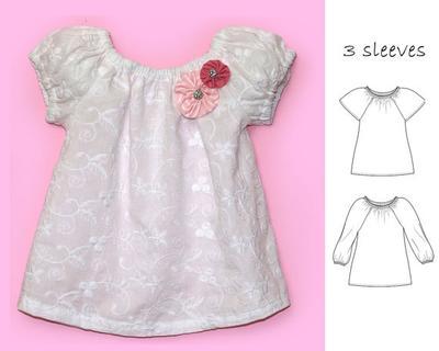 Girls top pattern pdf. Patrón blusa para niña.