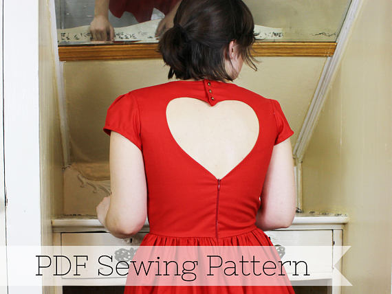 Heart Cut Out Dress PDF Sewing Pattern