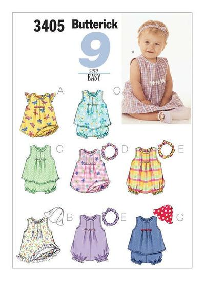 Infants Dresses, Top, Romper, Panties, Hat and Headband Sewing Pattern