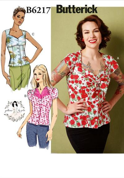 Misses Blouse, Tops Sewing Pattern