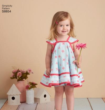 Toddlers Pinafore and Panties, New Uncut Sewing pattern