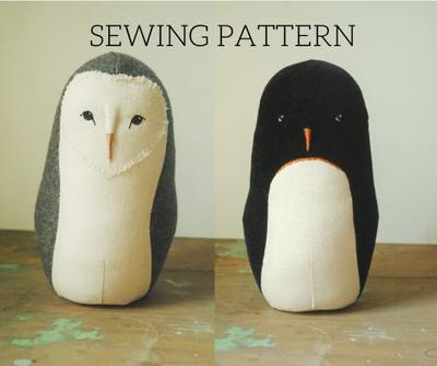 Barn owl and penguin stuffed animal sewing pattern