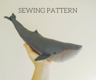 Blue whale soft toy digital sewing pattern