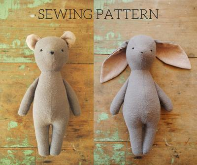Bunny rabbit and bear stuffed animal doll sewing pattern