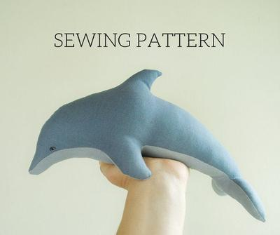 Dolphin soft toy digital sewing pattern
