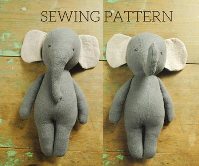Elephant stuffed animal doll sewing pattern