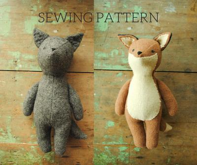 Fox and wolf stuffed animal doll sewing pattern