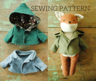 Miniature coat sewing pattern / reversible doll jacket with hood