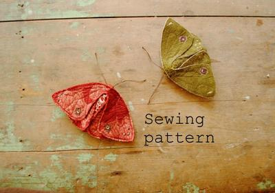 Simple fabric moth and butterfly sewing pattern