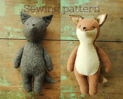 Soft toy sewing pattern /Fox or wolf doll / PDF tutorial by Willowynn